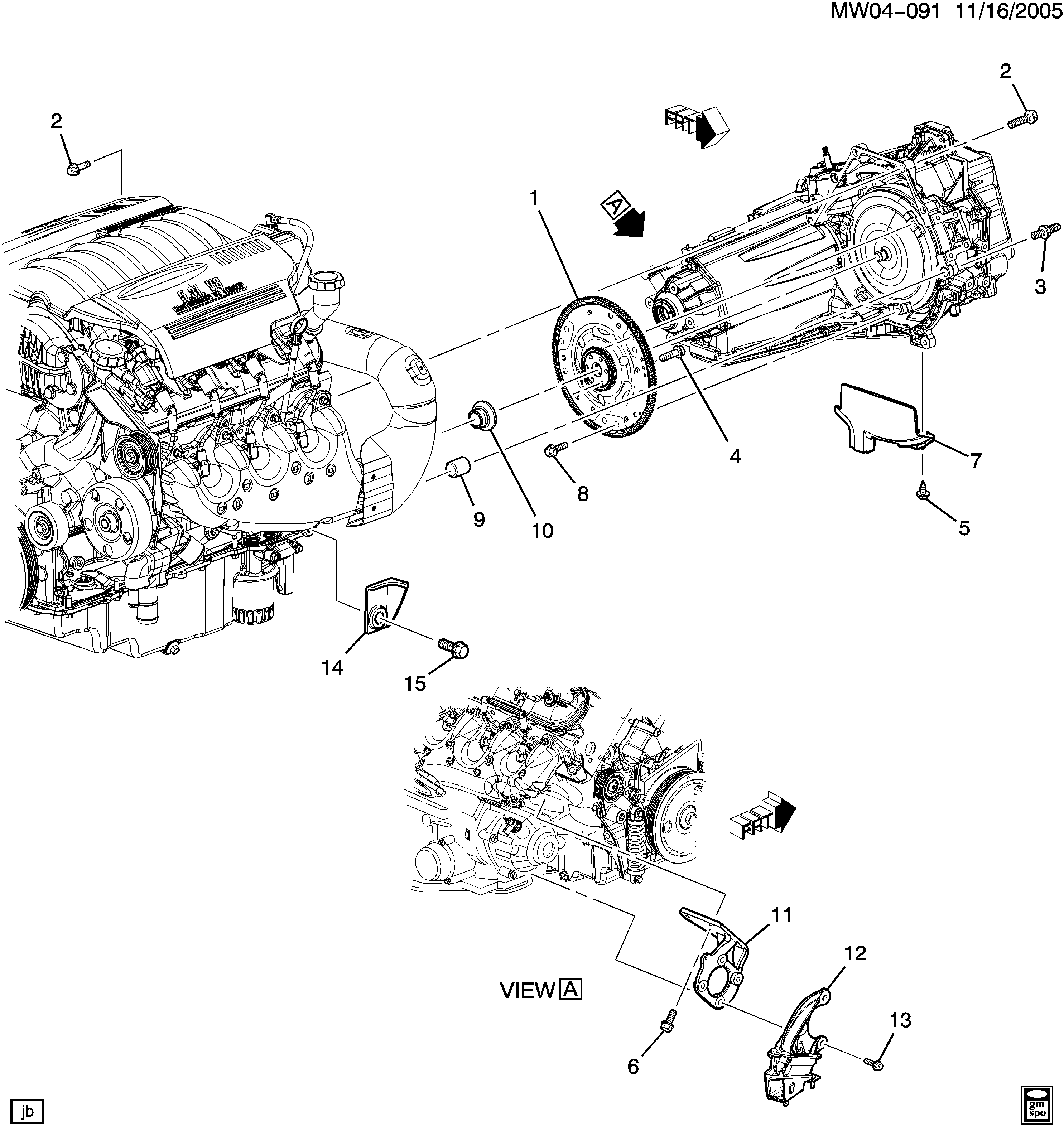 2006-2009 W ENGINE TO TRANSMISSION MOUNTING (LS4/5.3C)