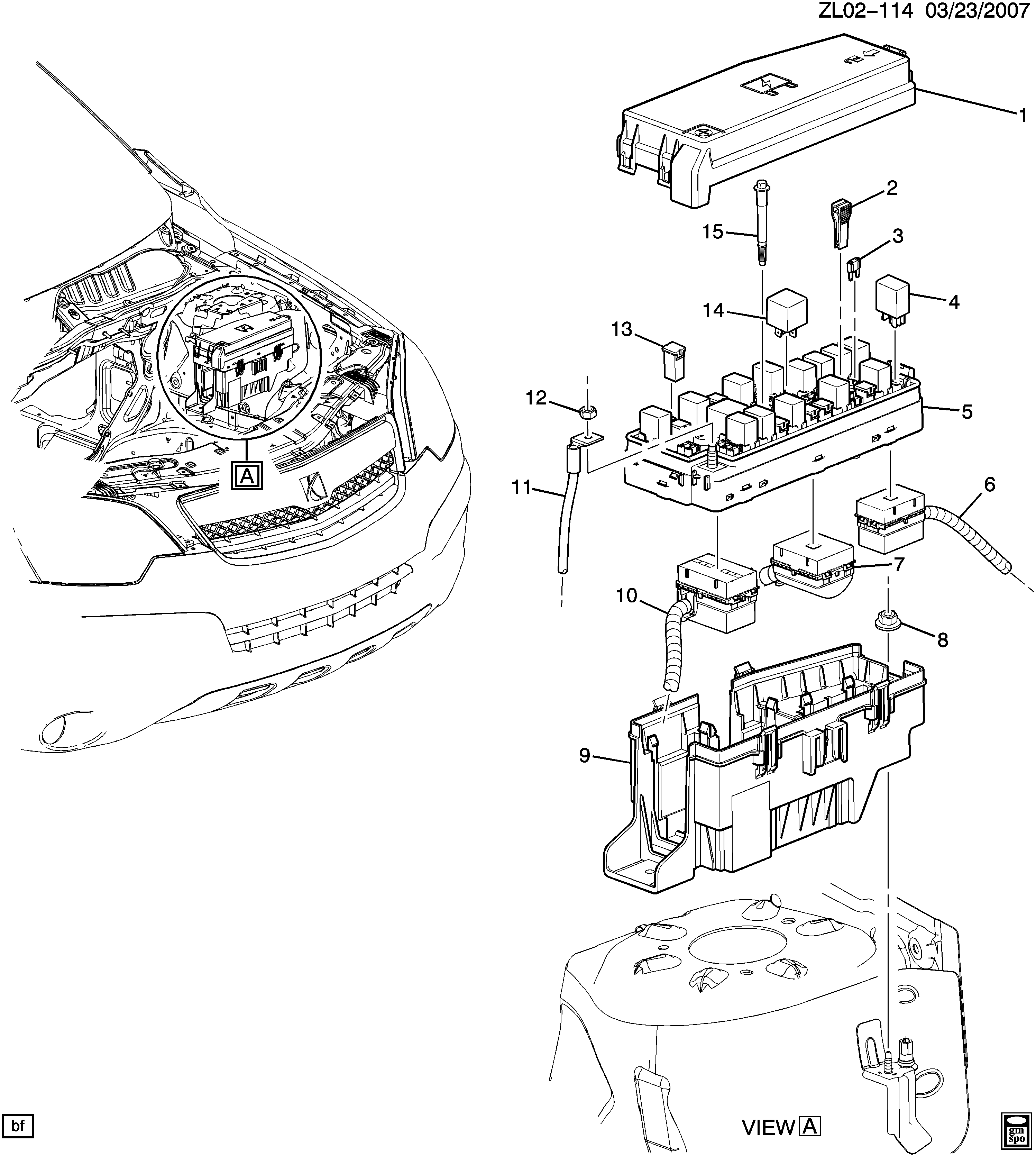2012-2015 LF,LR RELAYS/ENGINE COMPARTMENT