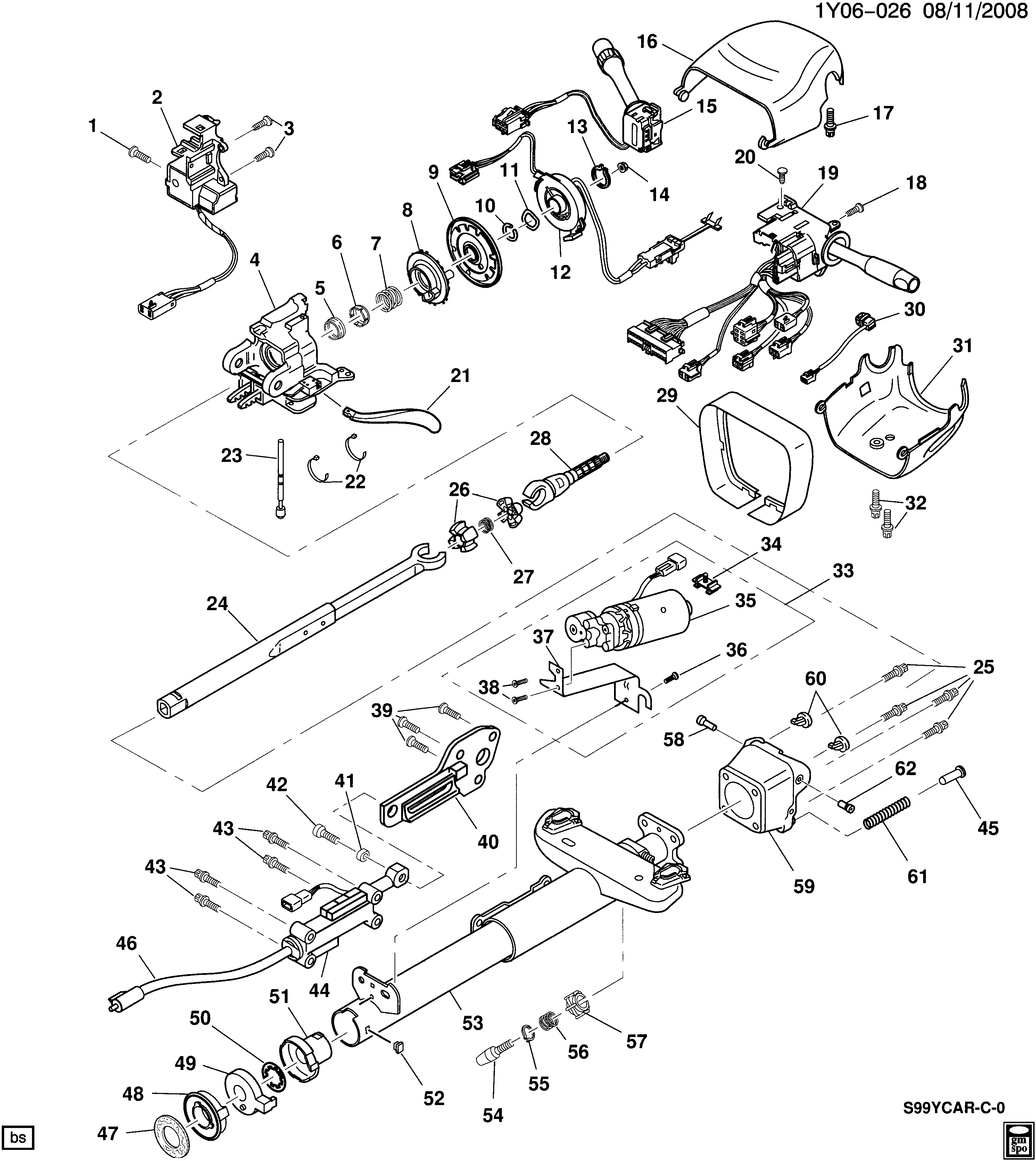 1999-2000 Y STEERING COLUMN (TILT & POWER TELESCOPE)(N37)
