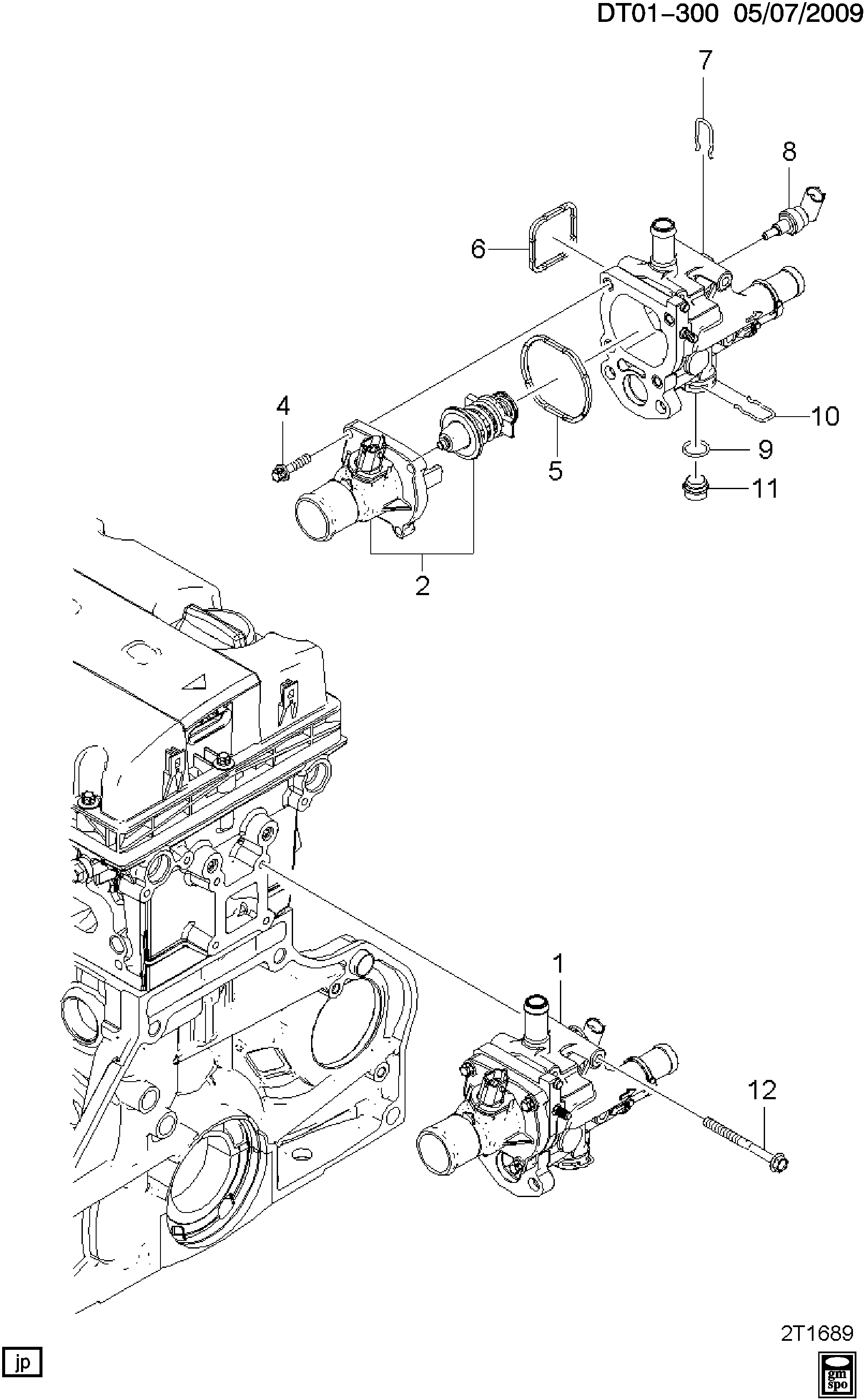 2007 chevy aveo thermostat location diagram