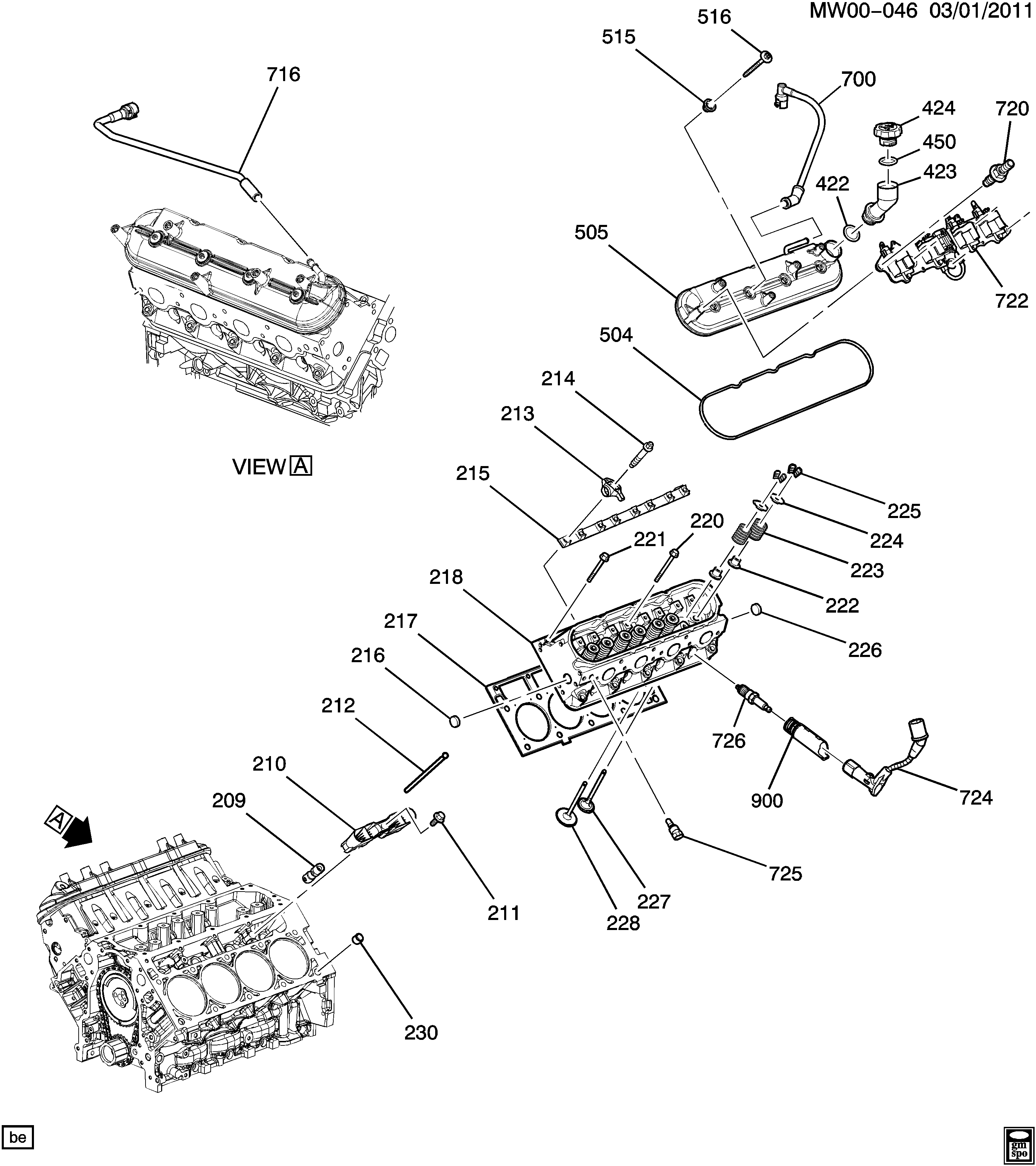 2006-2009 W ENGINE ASM-5.3L V8 PART 2 CYLINDER HEAD AND RELATED