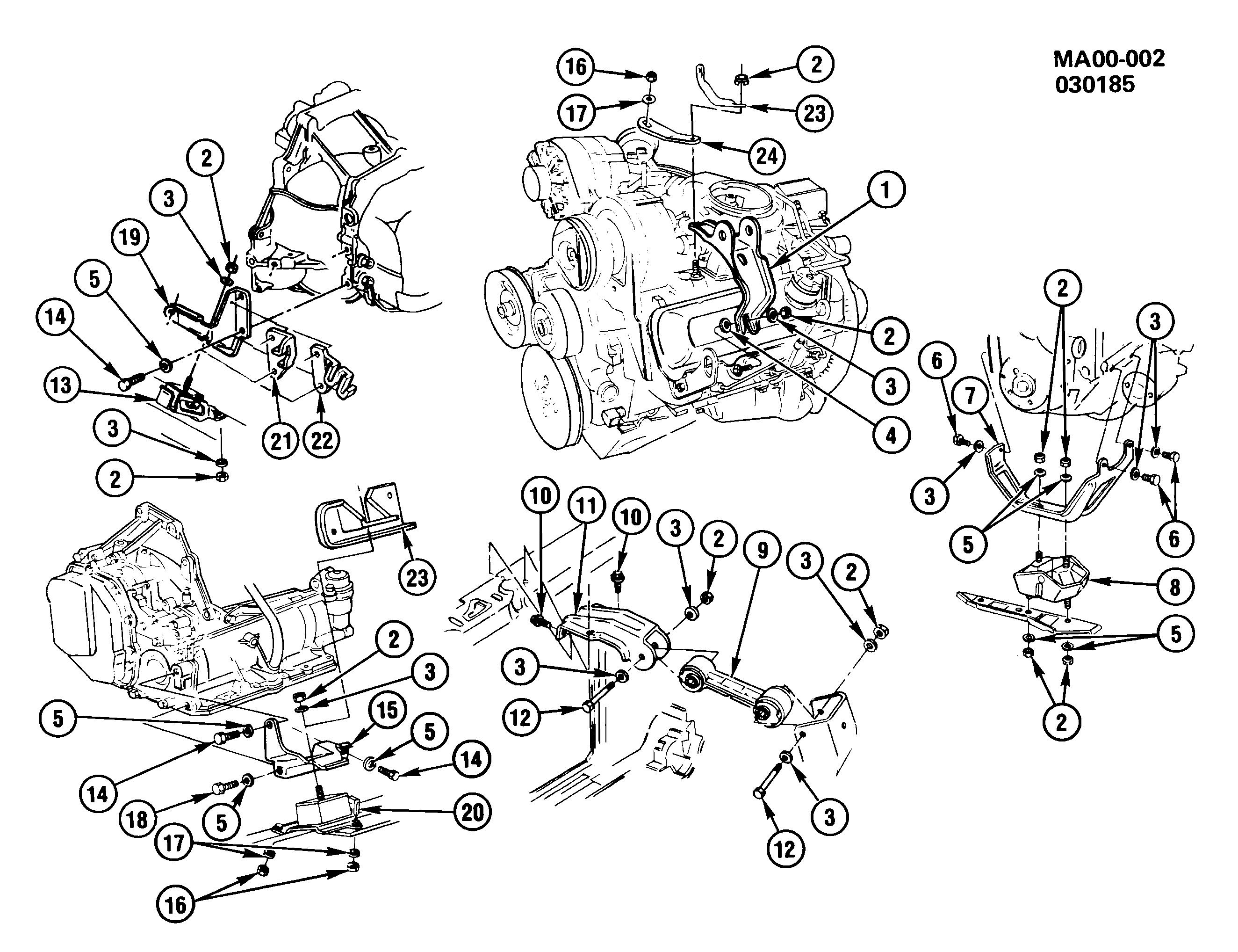 1982-1985 A ENGINE & TRANSMISSION MOUNTING-V6 (LT7/4.3T)
