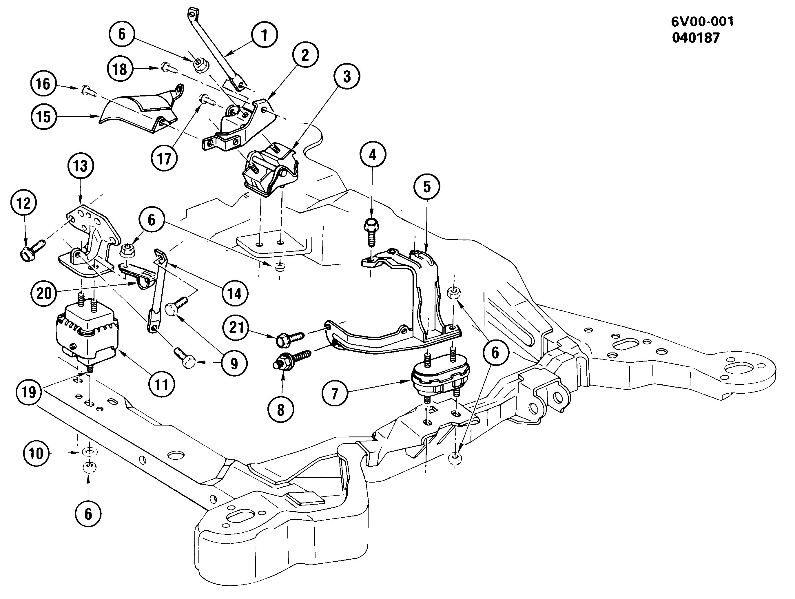 1987-1988 V ENGINE & TRANSMISSION MOUNTING-V8 (LC7/4.1-7)