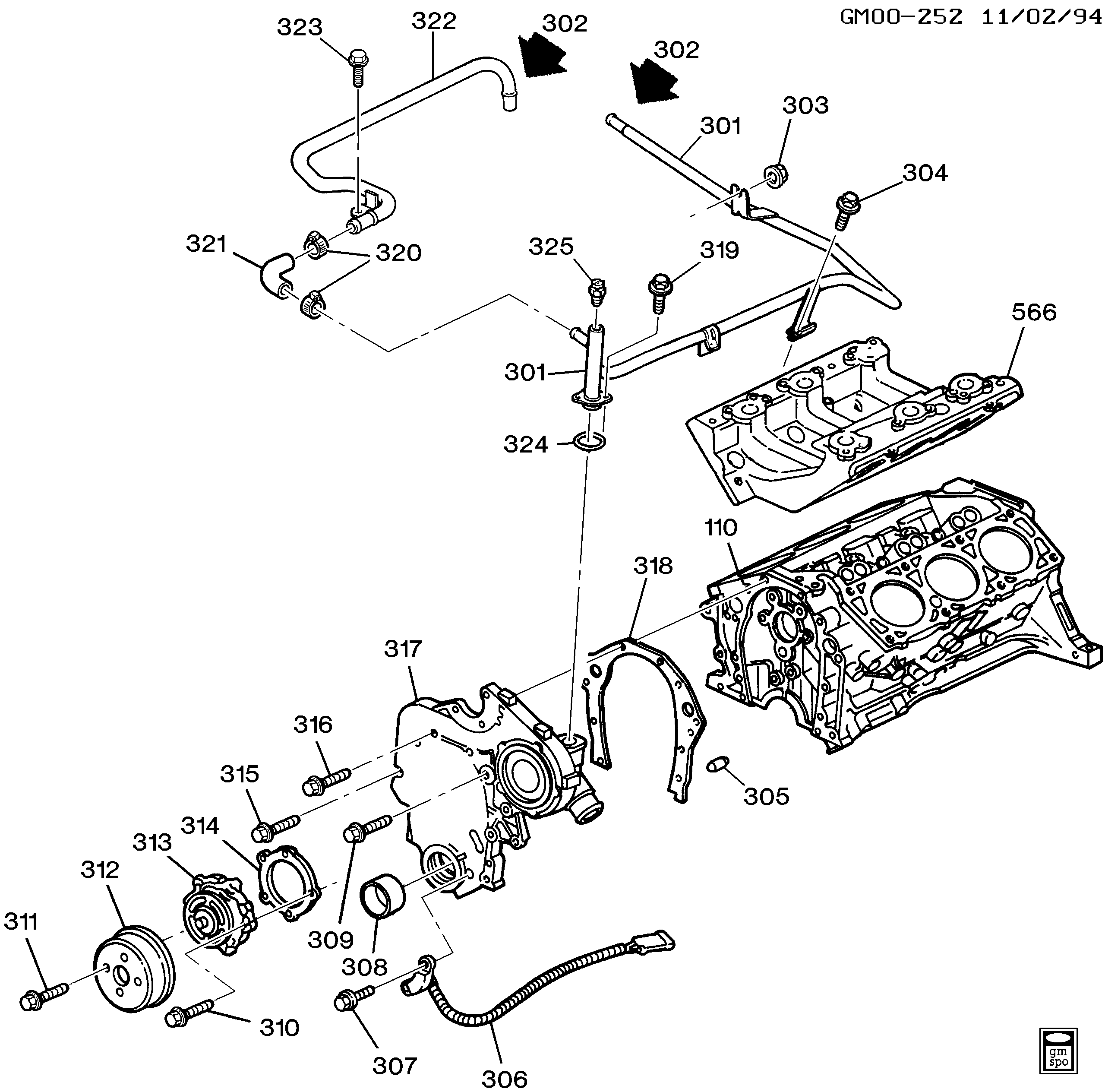 1995-1999 w engine asm-3.1l v6 part 3 front cover & cooling (l82/3.1m) chevrolet  lumina lumina  catalog chevrolet - 7zap