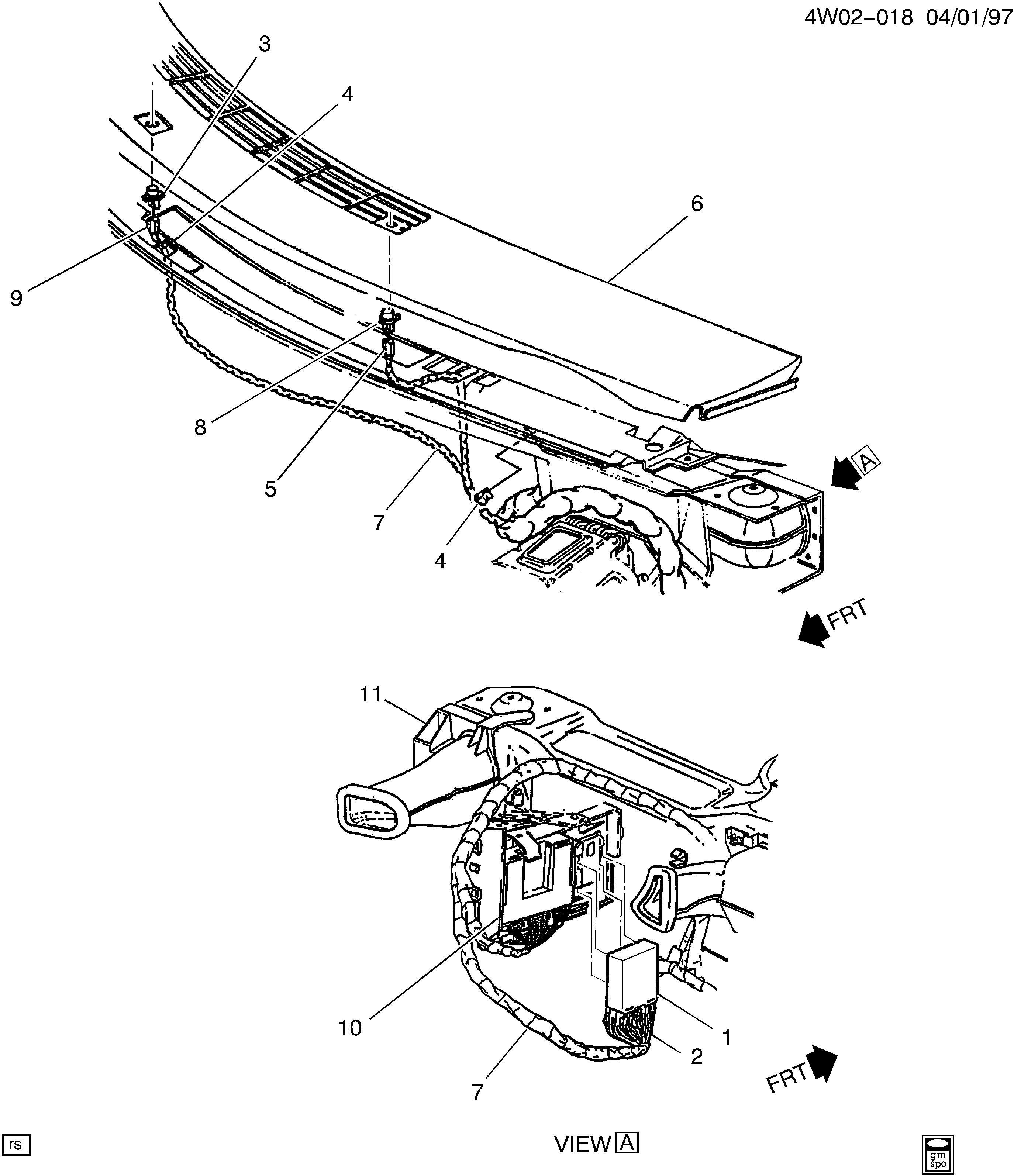 1997-1998 W DAYTIME RUNNING LAMP COMPONENTS