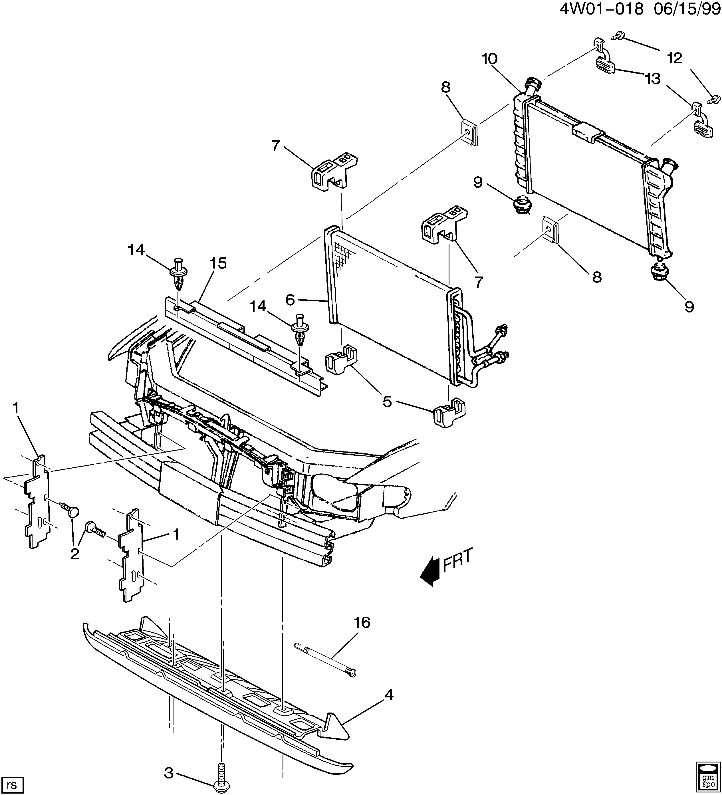 1997-1998 W RADIATOR MOUNTING & RELATED PARTS