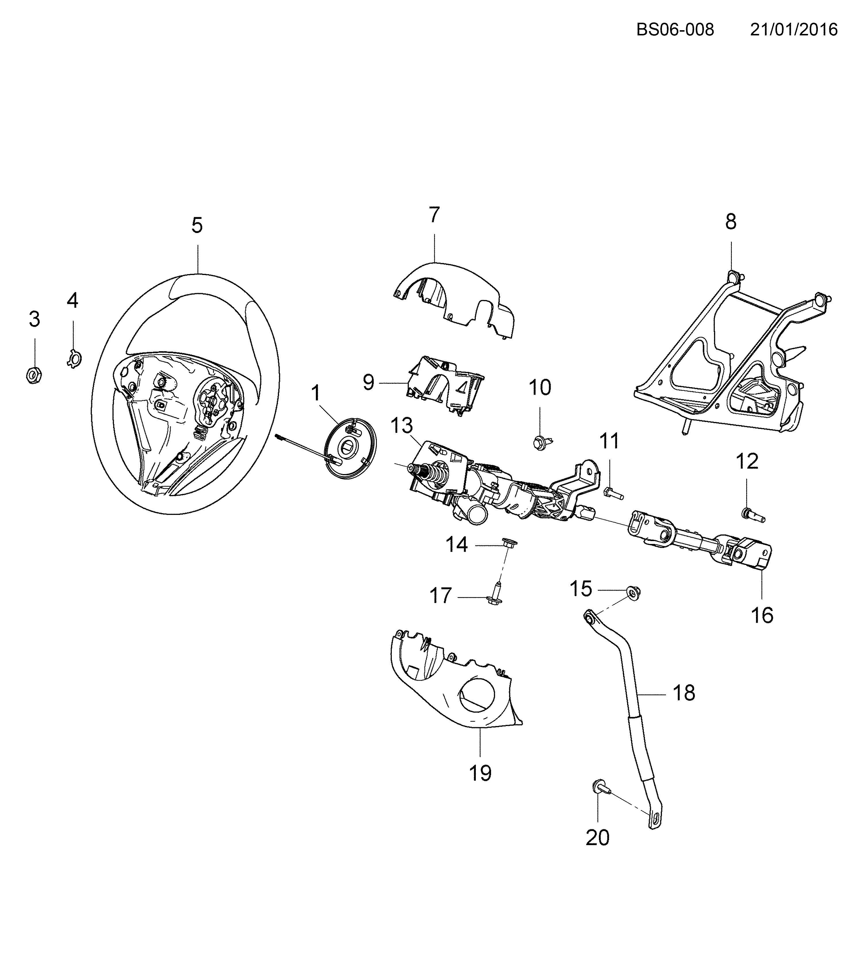 2013-2017 S STEERING COLUMN & RELATED PARTS