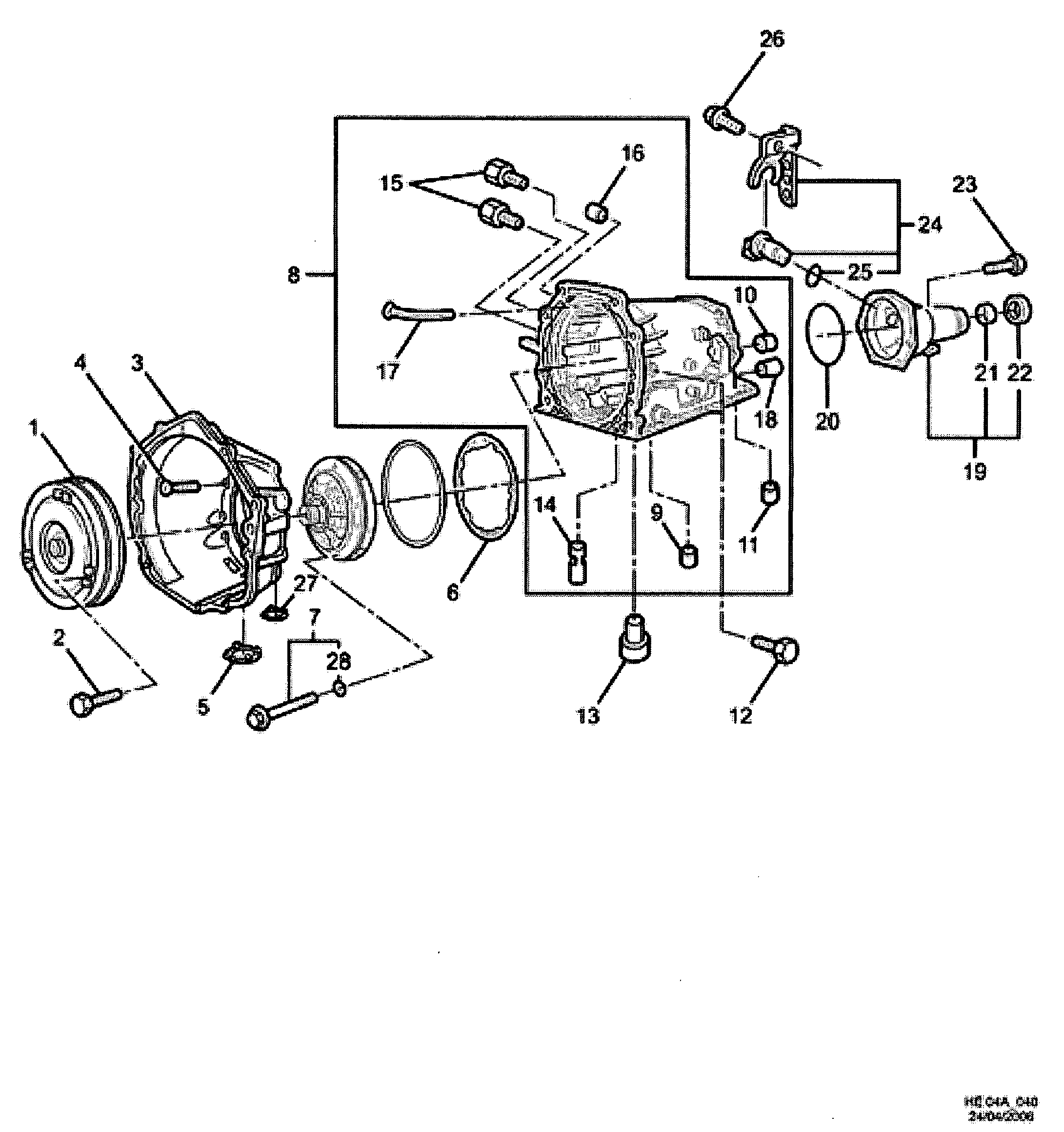 2007 2009 E Automatic Transmission Convertor Case Extensionm32 M30 Engine Diagram Extensionm32m30