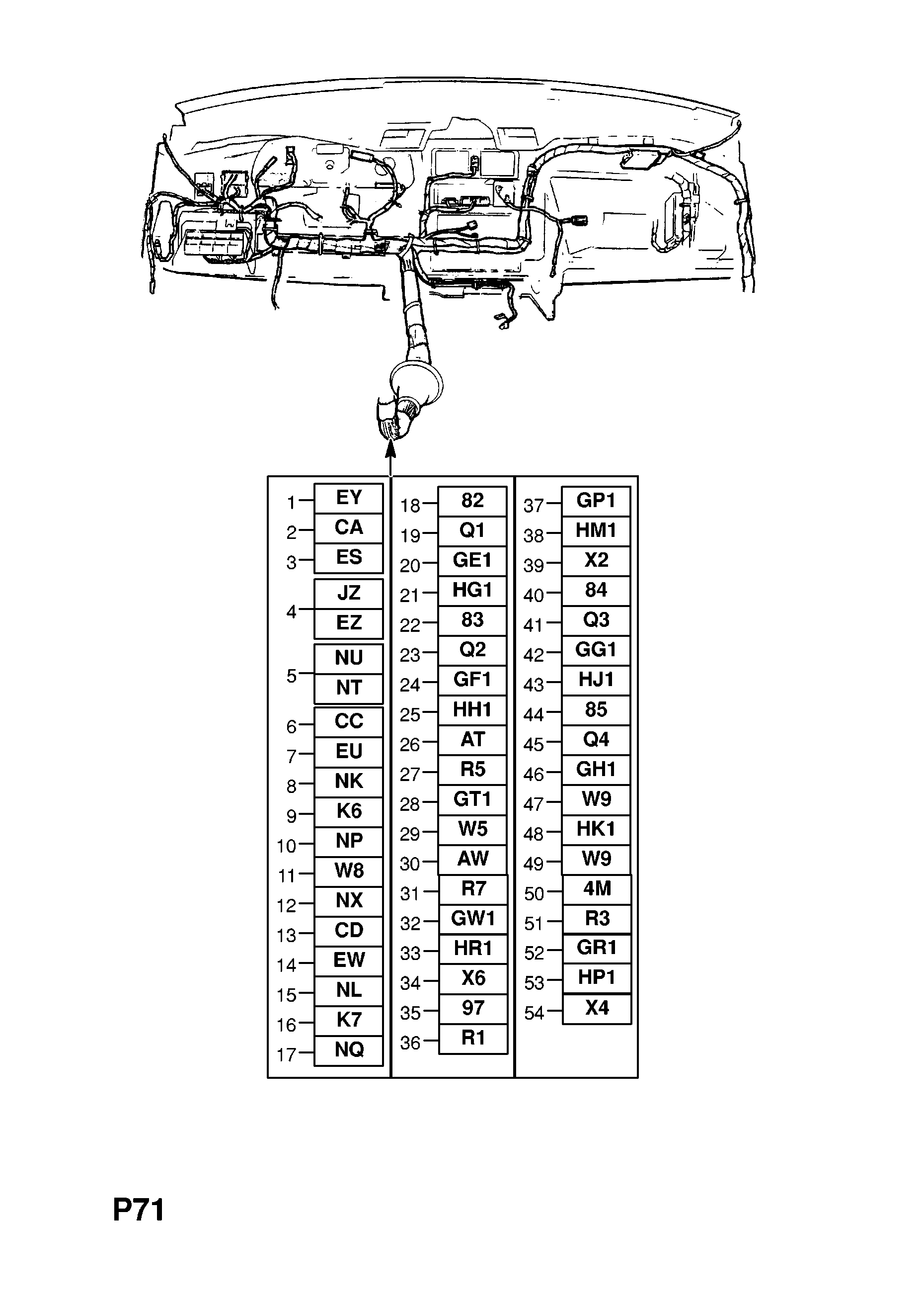 INSTRUMENT PANEL WIRING HARNESS (CONTD.) [EXCEPT AIR CONDITIONING FOR  VAUXHALL] OPEL CALIBRA