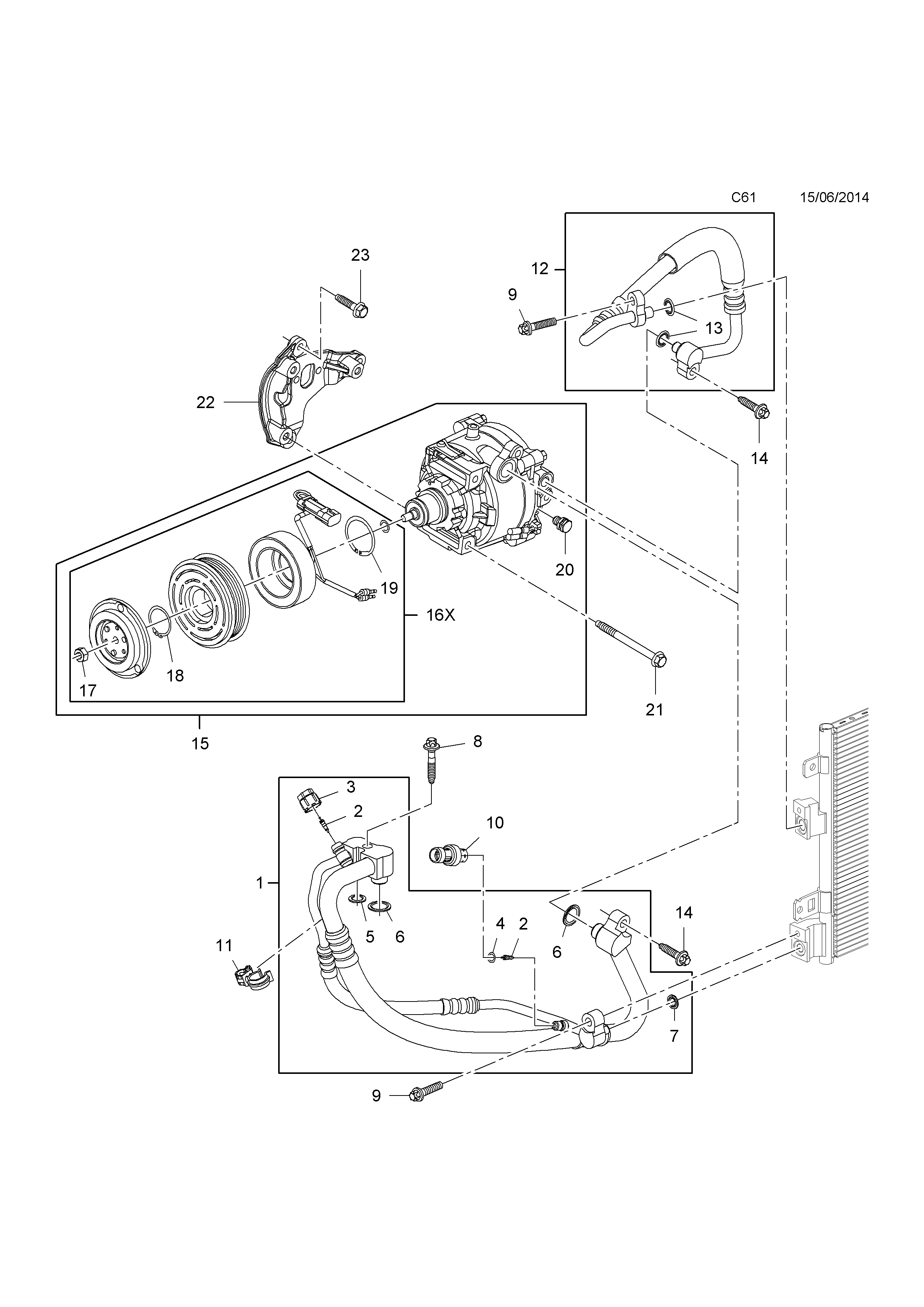 COMPRESSOR AND FITTINGS <small><i>[B10XFL[LE1],B10XFT[LE1] PETROL ENGINES]</i></small>