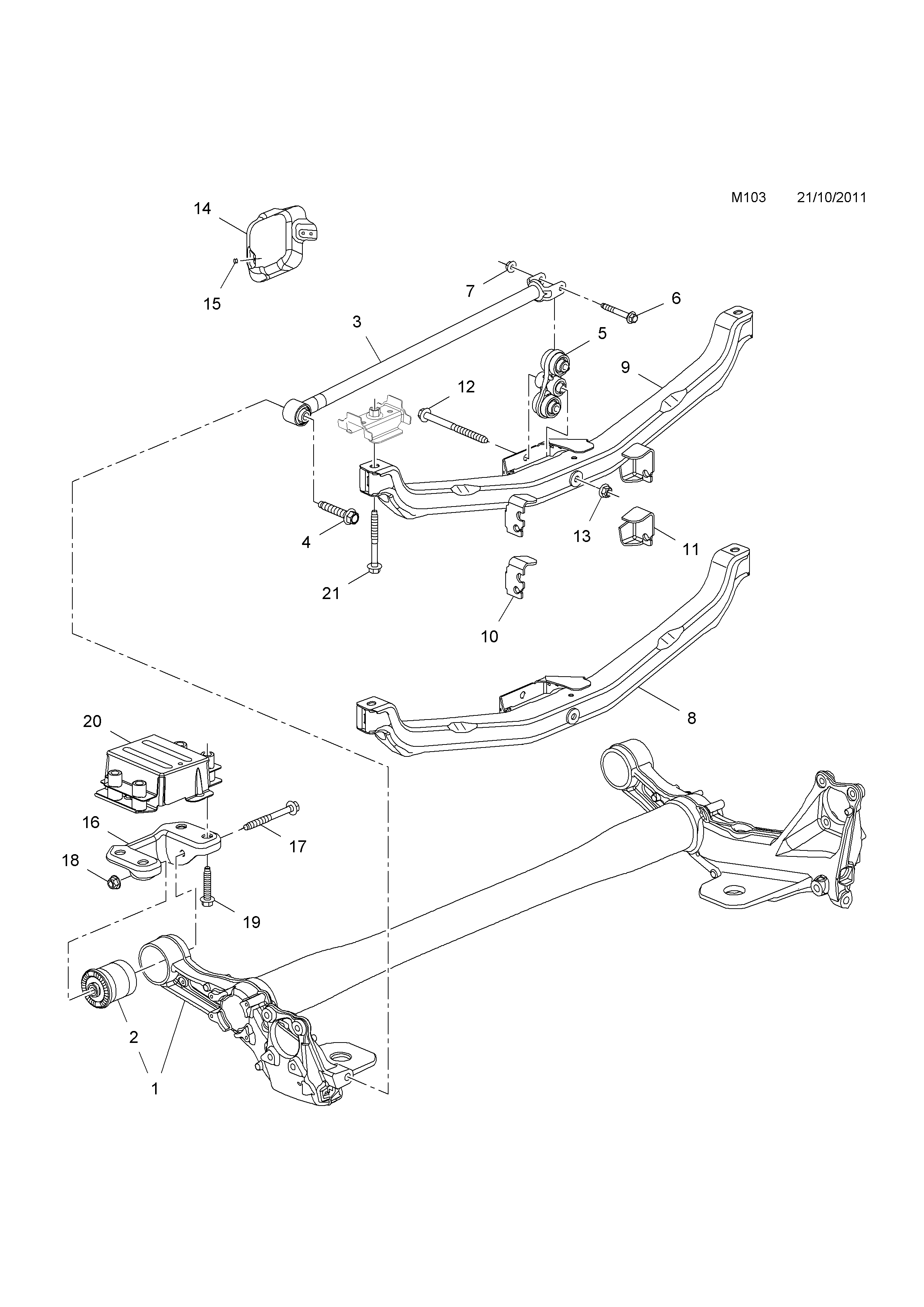 rear axle  for torsion beam rear axle with watt linkage
