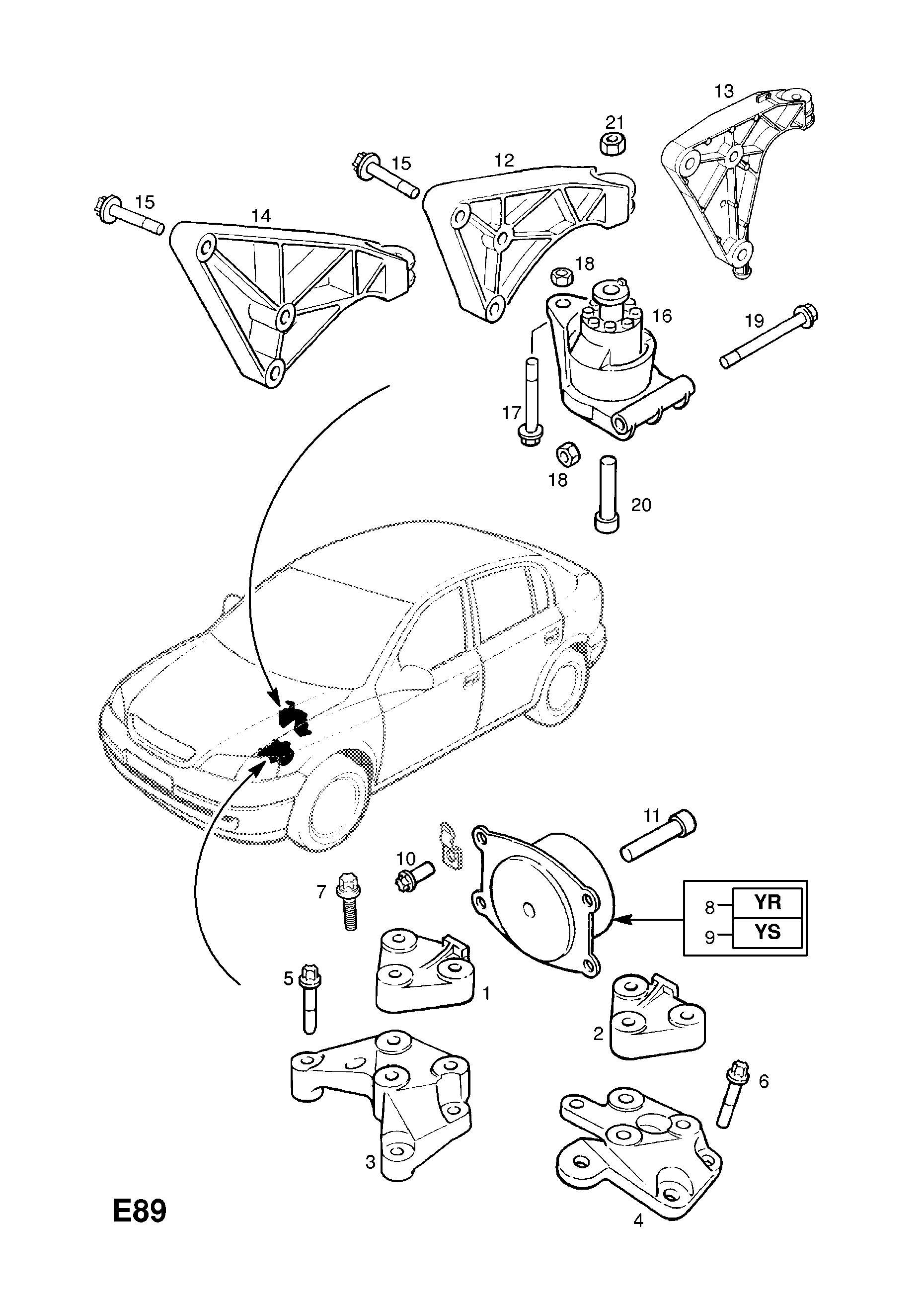 Engine Mountings Contd Rear Mounting Opel Astra G Zafira A Diagram