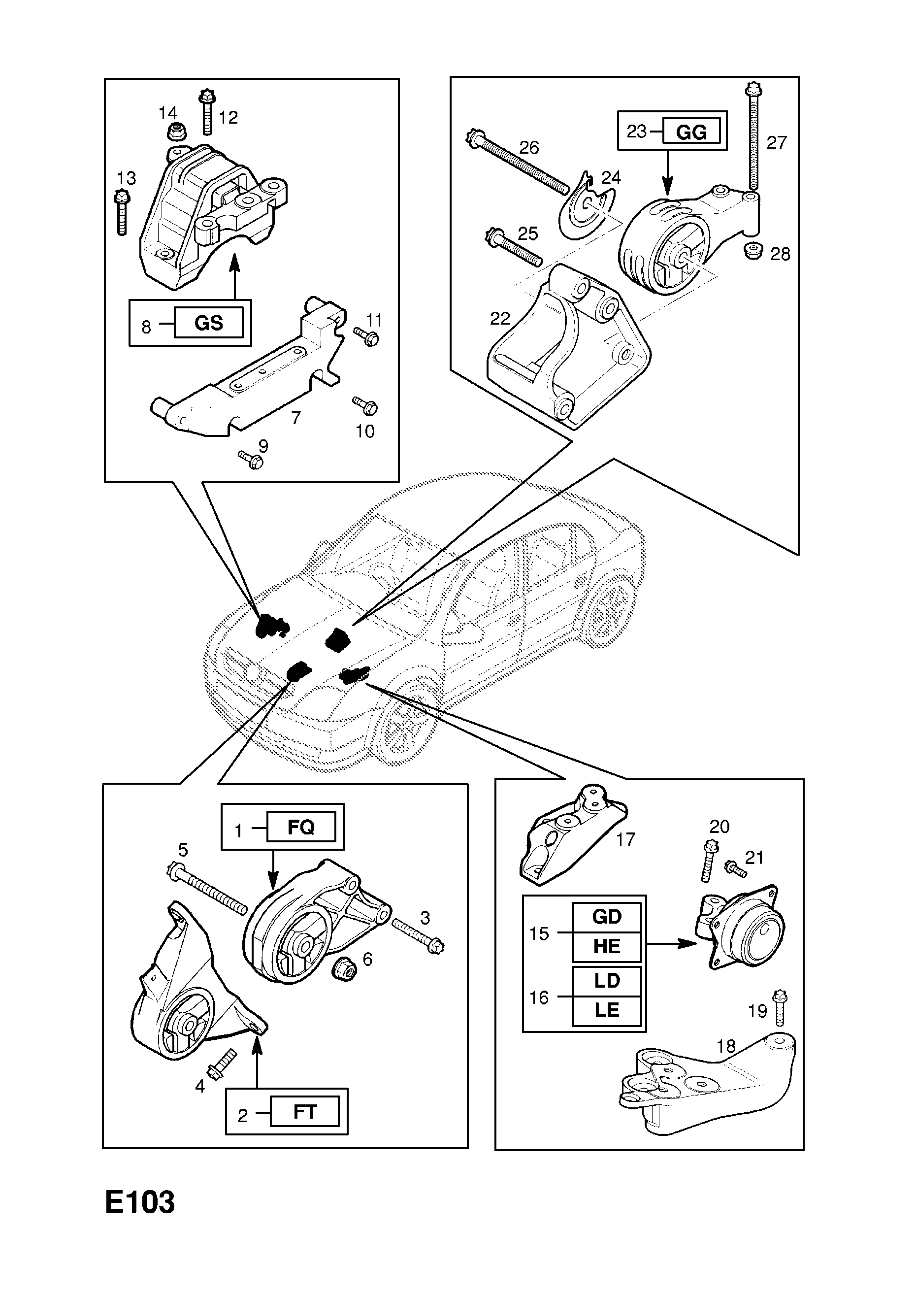 Engine Mountings Left Mounting Opel Vectra C Diagram