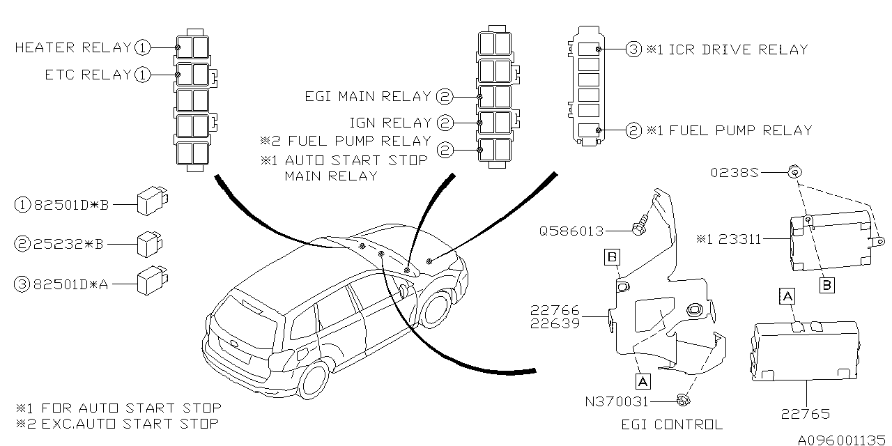 relay  u0026 sensor  engine  subaru forester jf1 2
