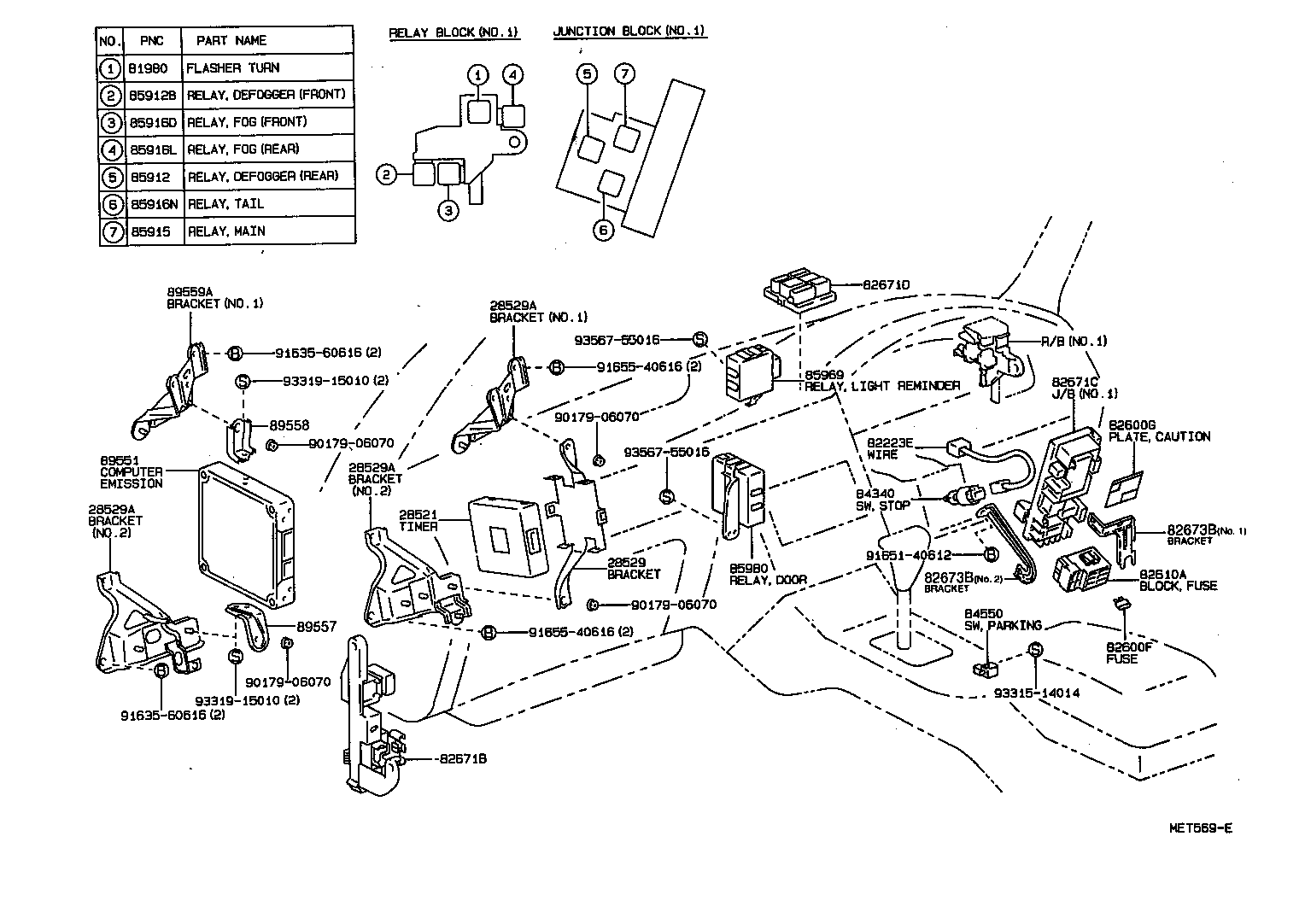Toyota Carina E Fuse Diagram Detailed Wiring Diagrams Box Location Switch Relay Computercowl 9202 Ukp Rhd Used