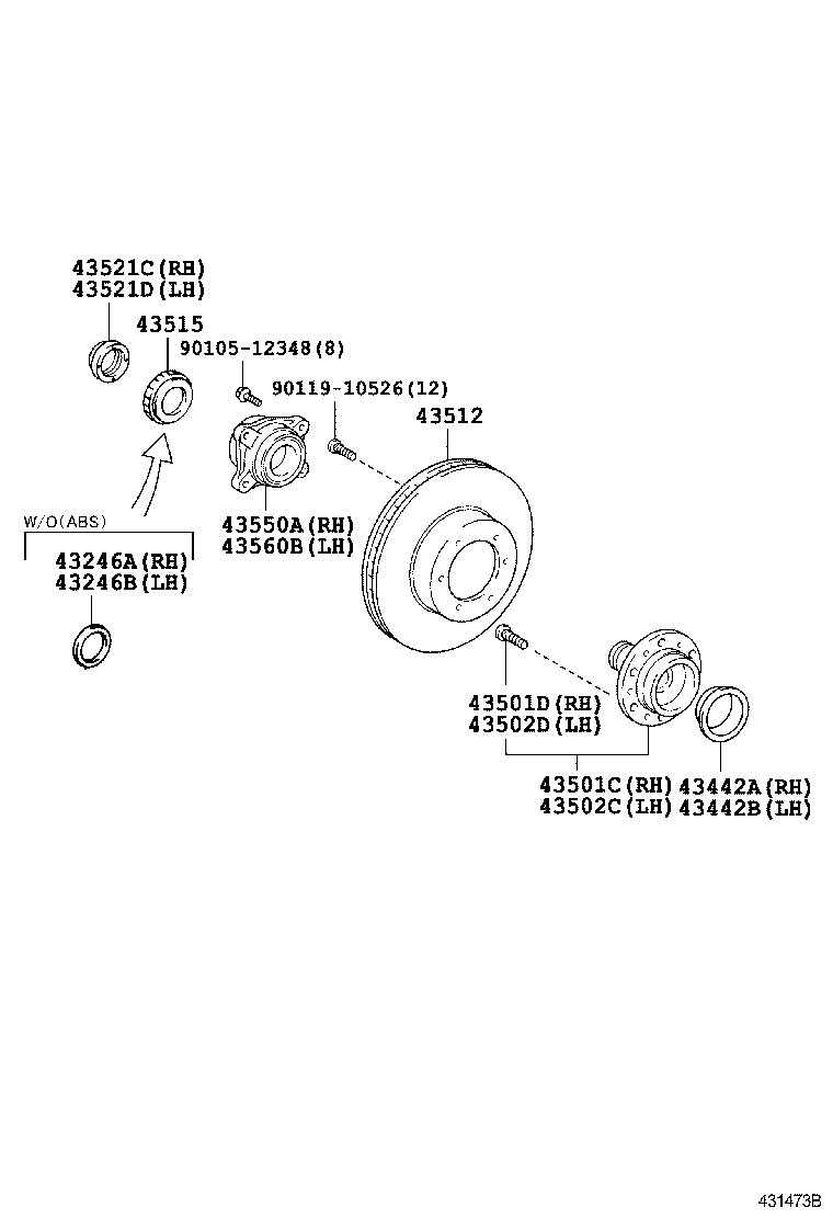 Front Axle Hub Toyota Hiace Kdh2lh2trh2 Asia And Middle East Diagram Hiacekdh2lh2trh2