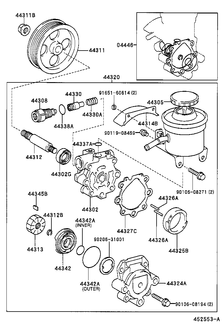 Toyota Previa Steering Diagram Electrical Wiring Diagrams Plug Vane Pump Reservoir Power Acr30clr30 Engine