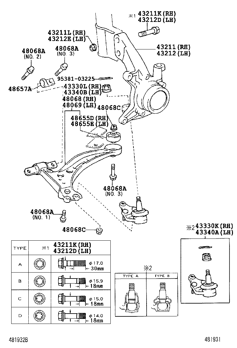 Toyota Steering Knuckle Diagram Trusted Wiring Diagrams Front Axle Arm 0408 Camry Acv36 Dana 44