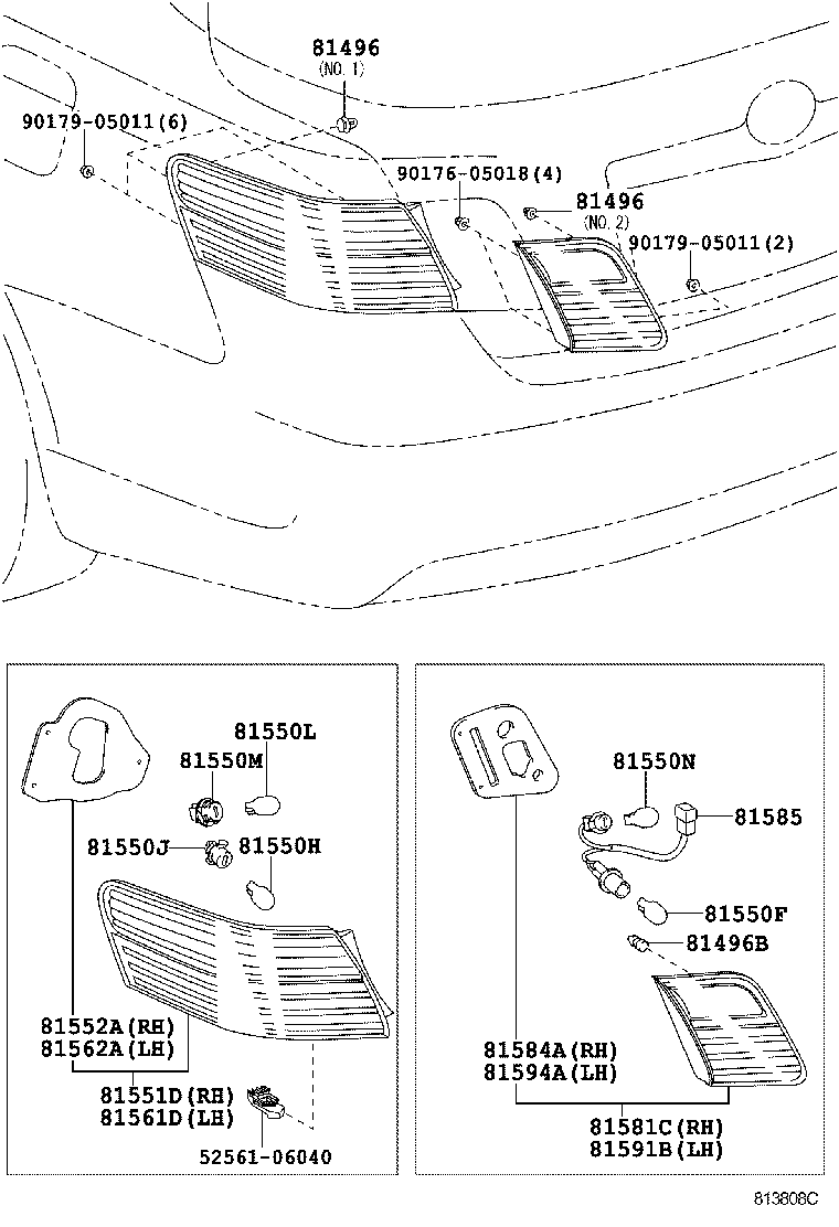 Rear Combination Lamp 0606 0906acv40 Toyota Camry Acv40ahv40 Aurion Wiring Diagram Manual Part Code Title Information I
