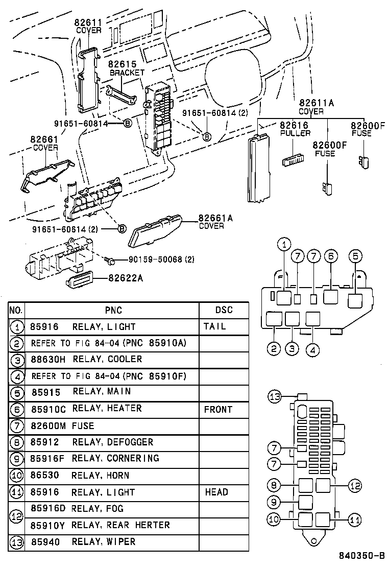 Part code, Title, information, i. 82611, COVER, FUSE BLOCK