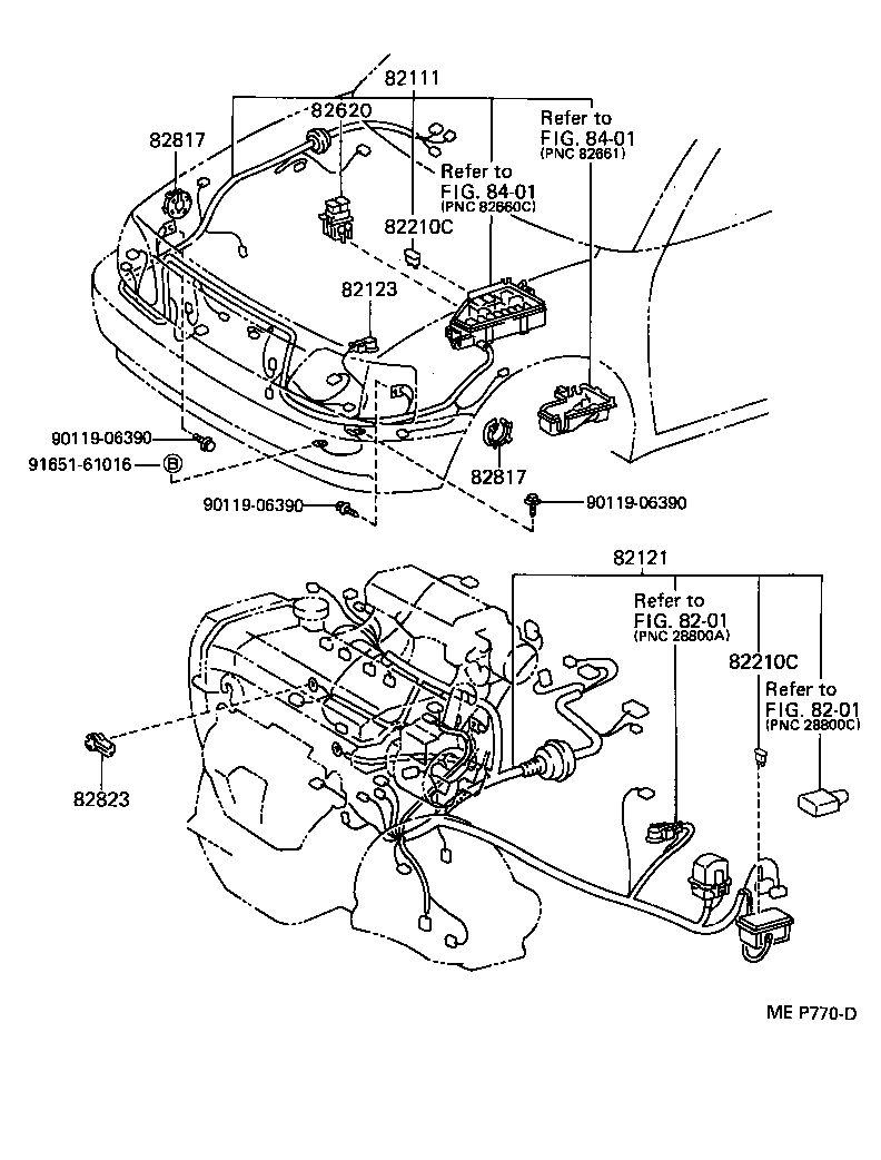 WIRING & CLAMP[ ILLUST NO. 1 OF 6(9201-9601)EP82 ] TOYOTA STARLET[EP8#]  (ASIA and MIDDLE EAST)