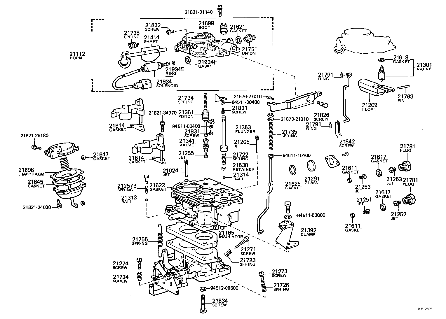 CARBURETOR[ (8008- )2F..GEN ] TOYOTA LAND CRUISER[BJ4#,HJ47,FJ4#] (ASIA and  MIDDLE EAST)