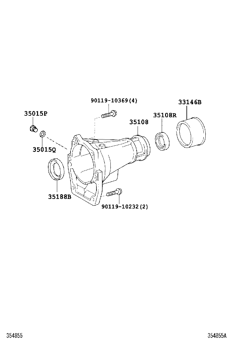 EXTENSION HOUSING (ATM)[A750E (0308- )UZN210