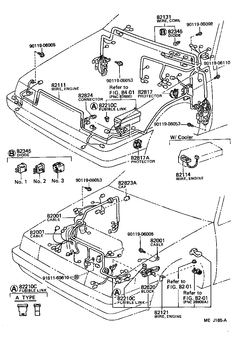 Wiring Clamp 8702 D Toyota Corolla Ae82 North America Harness Part Code Title Information I